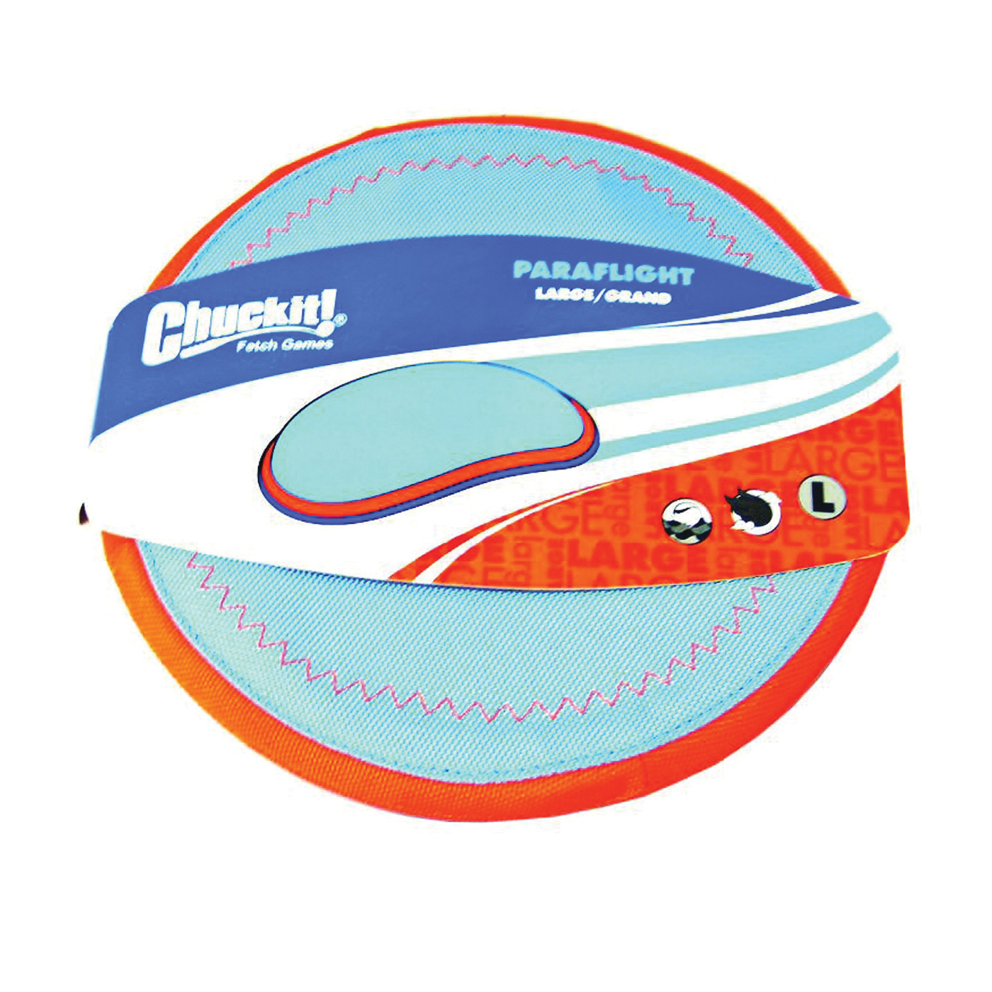 Picture of Chuckit! 221301 Paraflight Flyer, L, Nylon/Rubber, Blue/Orange