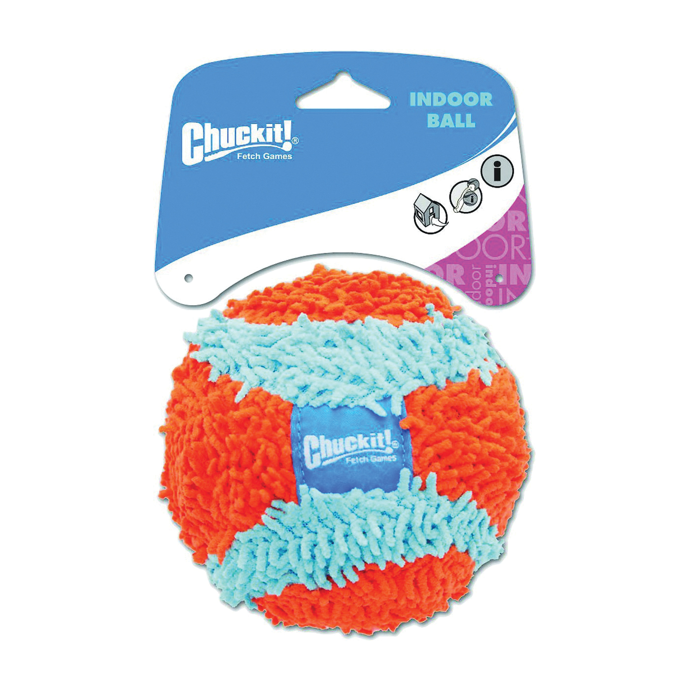 Picture of Chuckit! 213201 Pet Ball, M, Indoor Toy, Chenille, Blue/Orange