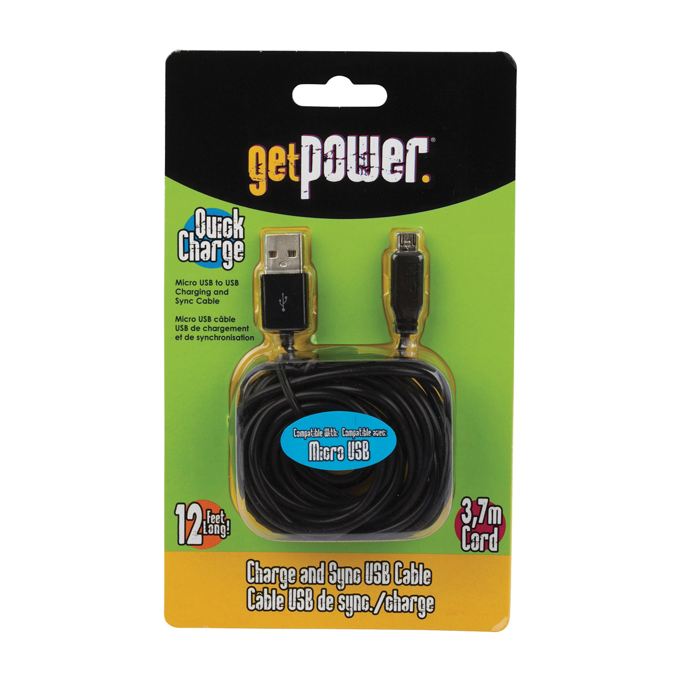 Picture of GetPower GP-XL-USB-M Charge/Sync Cable USB, Black, 12 ft L
