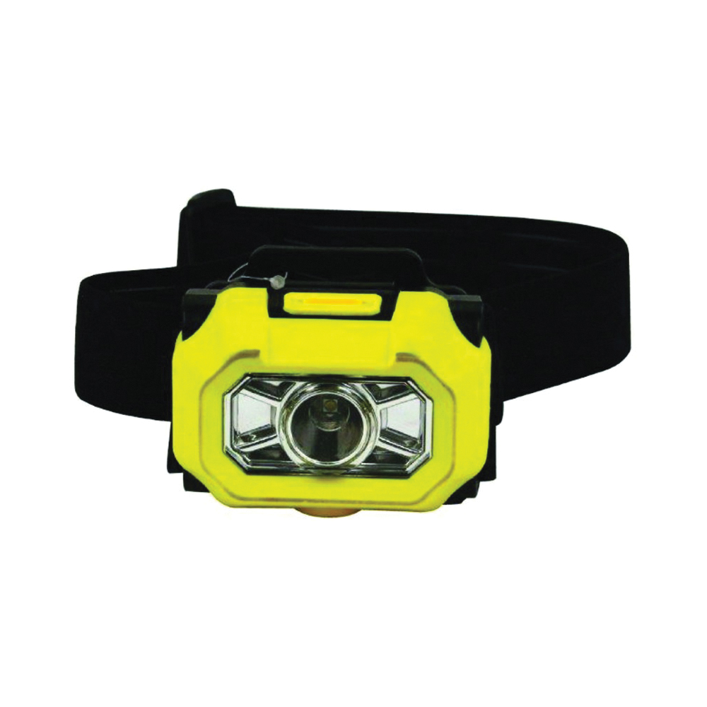 Picture of Dorcy 41-0094 Intrinsically Safe Headlight, AAA Battery, Alkaline Battery, LED Lamp, 180 Lumens, Yellow