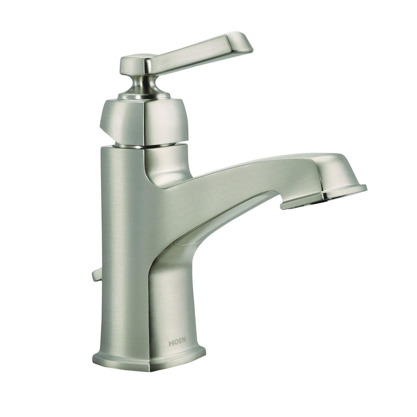 Picture of Moen Boardwalk WS84805SRN Bathroom Faucet, 1.2 gpm, 1-Faucet Handle, Metal, Brushed Nickel, Lever Handle