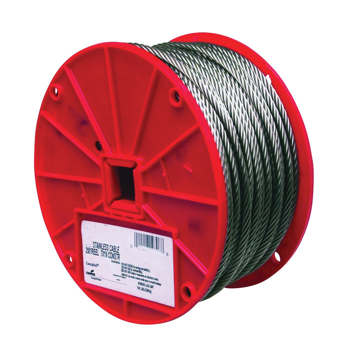 Picture of Campbell 7000426 High-Strength Cable, 1/8 in Dia, 250 ft L, 340 lb Working Load, Stainless Steel, Reel