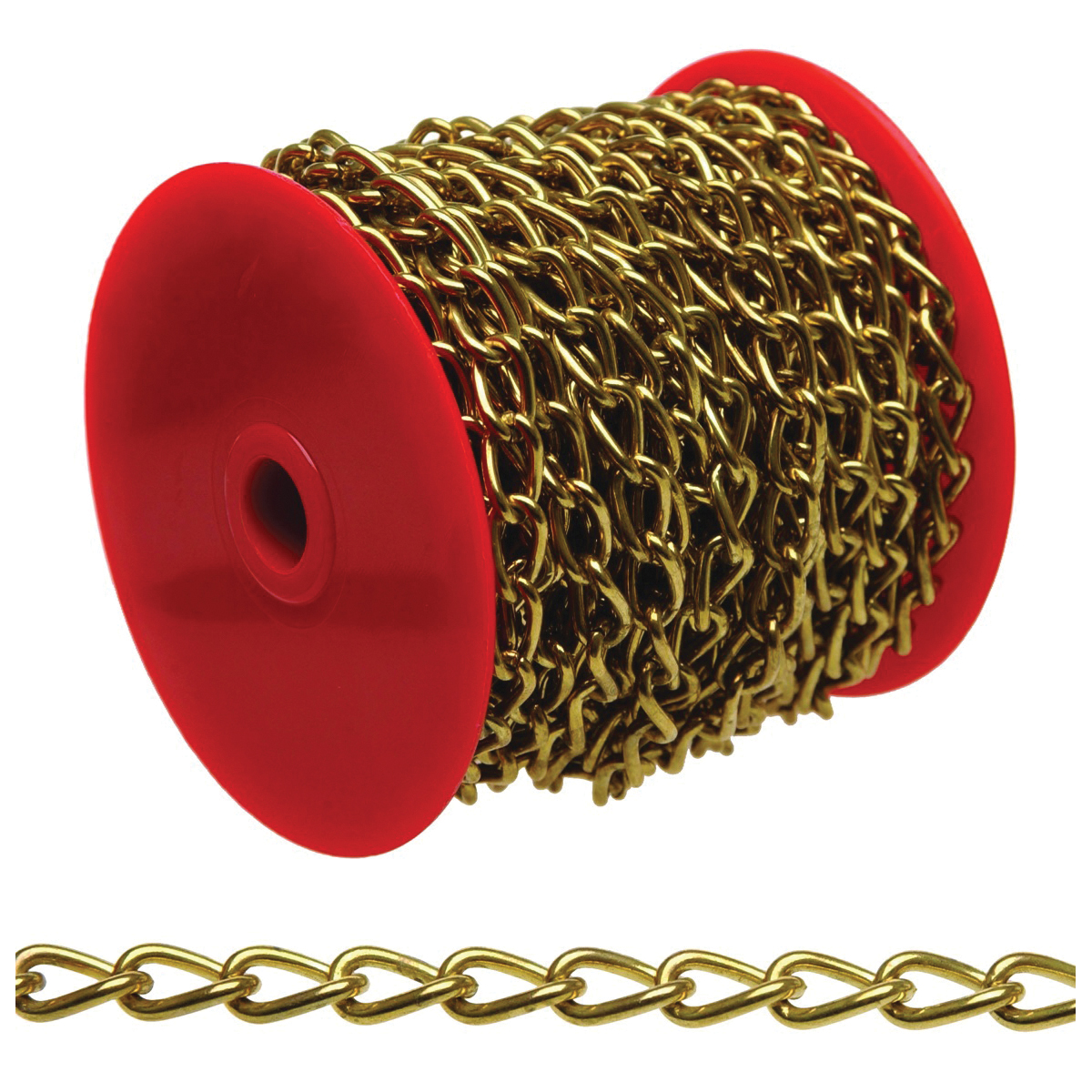 Picture of Campbell 0717017 Twist Chain, #70 Trade, 82 ft L, 5 lb Working Load, Brass, Reel