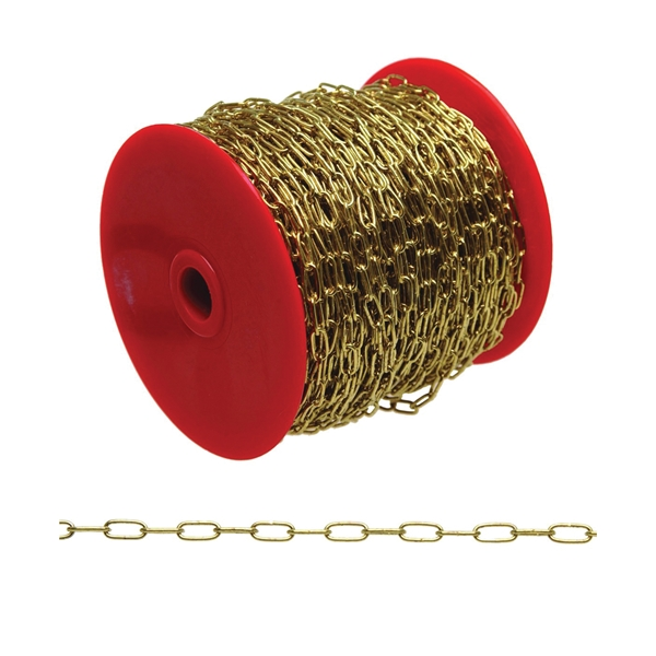 Picture of Campbell 0710317 Sash Chain, 3 Trade, 164 ft L, 5 lb Working Load, Metal, Brass, Reel
