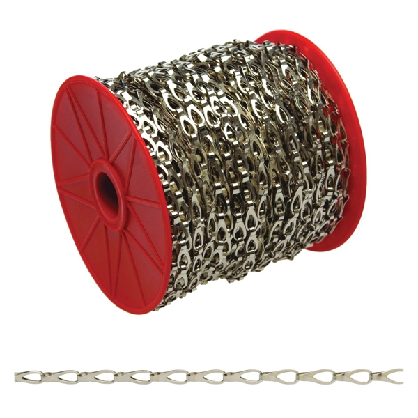 Picture of Campbell 0713027 Sash Chain, 3 Trade, 82 ft L, 25 lb Working Load, Steel, Chrome, Reel