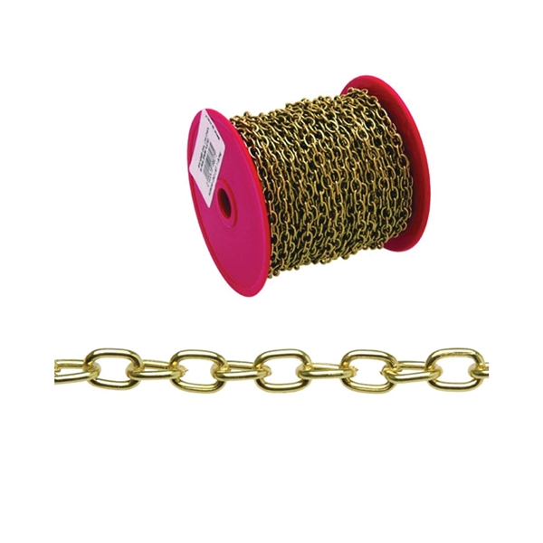 Picture of Campbell 0711917 Decorator Chain, #19 Trade, 82 ft L, 3 lb Working Load, Oval Link, Steel, Brass