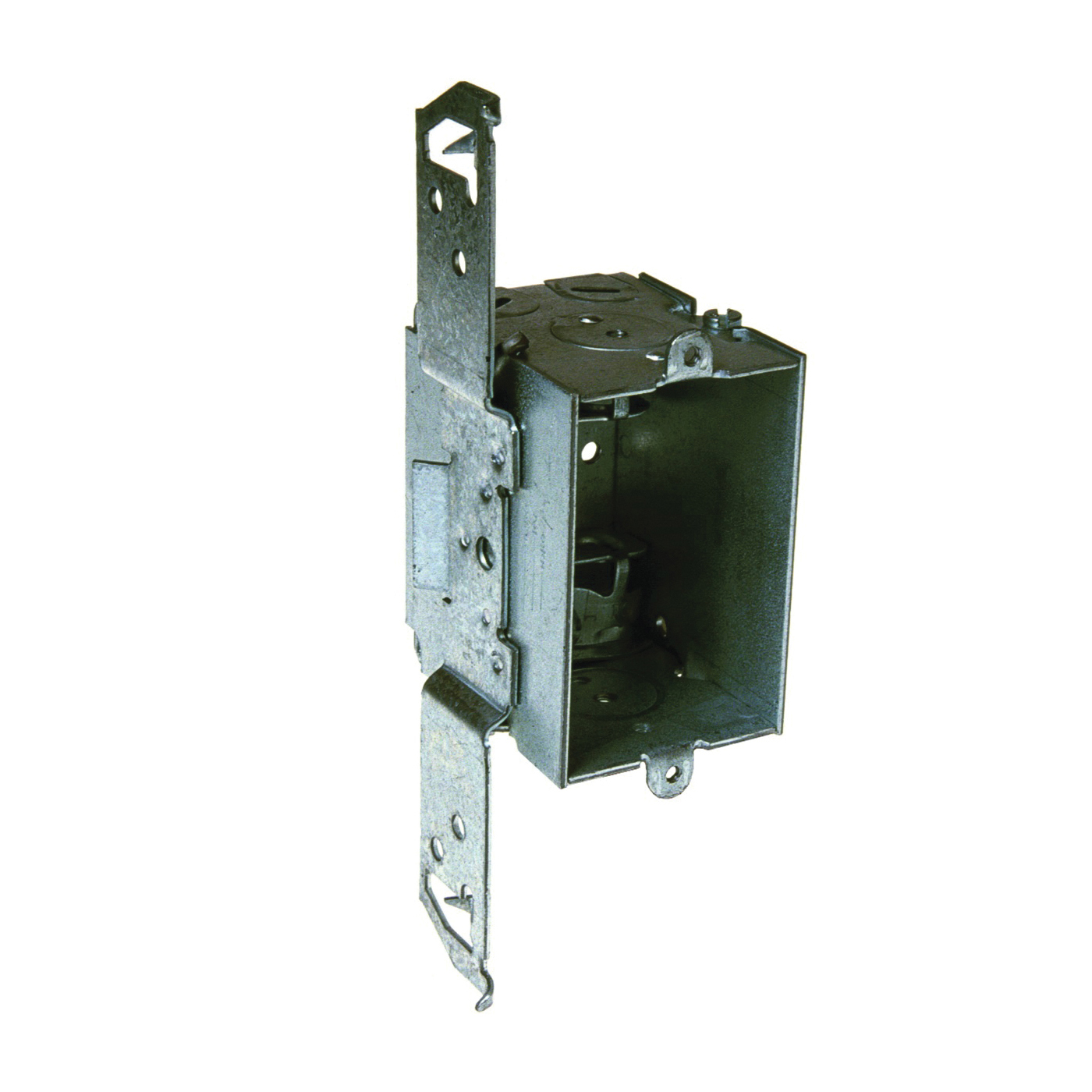 Picture of RACO 8524 Switch Box, 1-Gang, 3-Knockout, Steel, Aqua/Red, Bracket Mounting