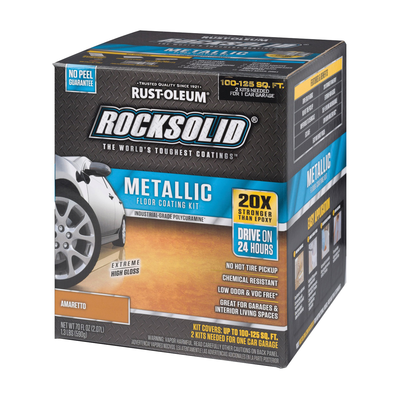 Picture of RUST-OLEUM ROCKSOLID 299741 Floor Coating Kit, High-Gloss, Amaretto, Particulate Solid, 70 oz