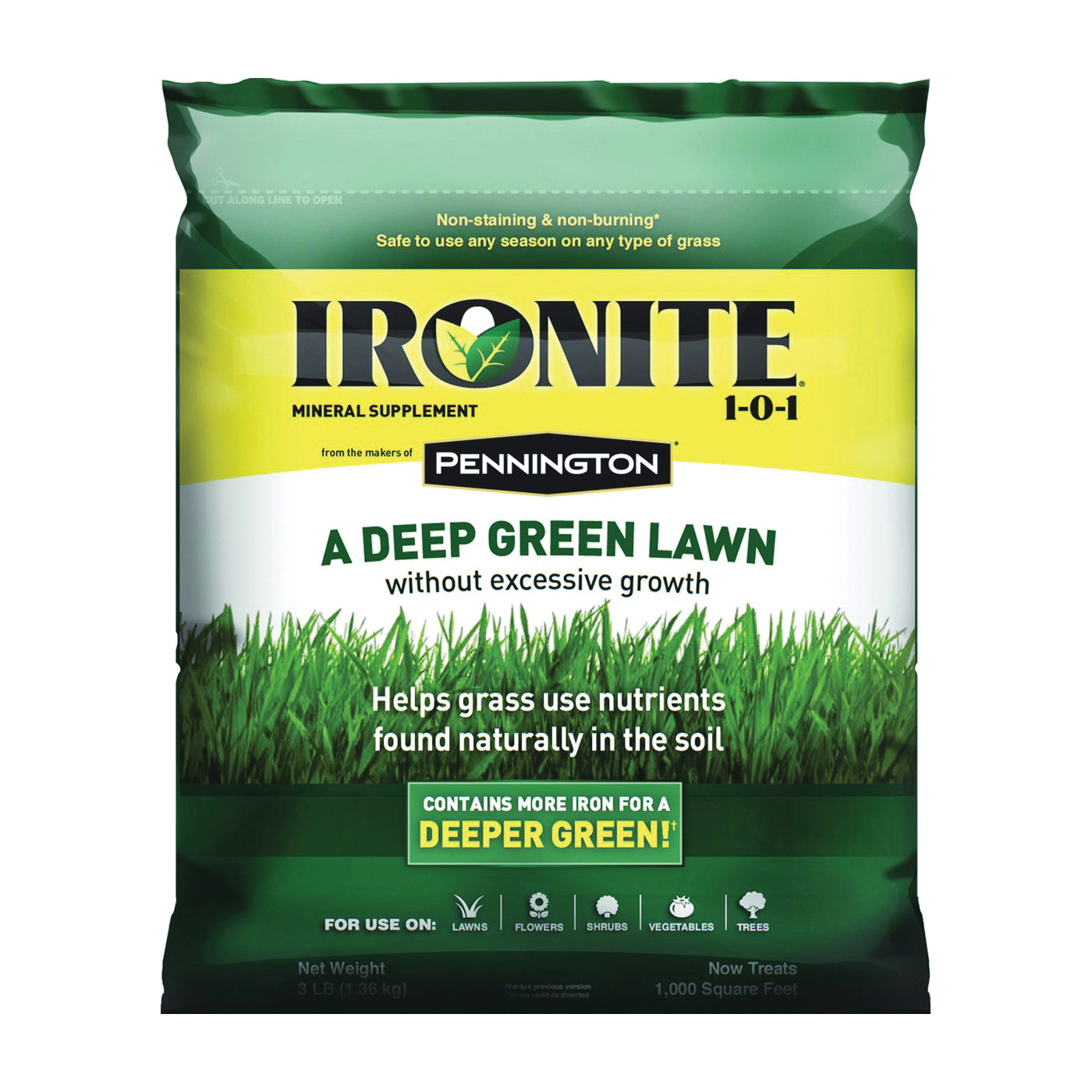 Picture of Ironite 100519429 Lawn Fertilizer, Solid, Ammonia, Slight Mineral, Black/Brown/Dark Gray/White, 3 lb Package, Bag