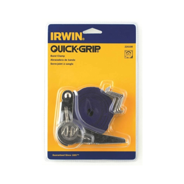 Picture of IRWIN 226100 Band Clamp, 350 lb Clamping, 14 in Max Opening Size, 1 in D Throat, Nylon Body, Blue/Silver Body