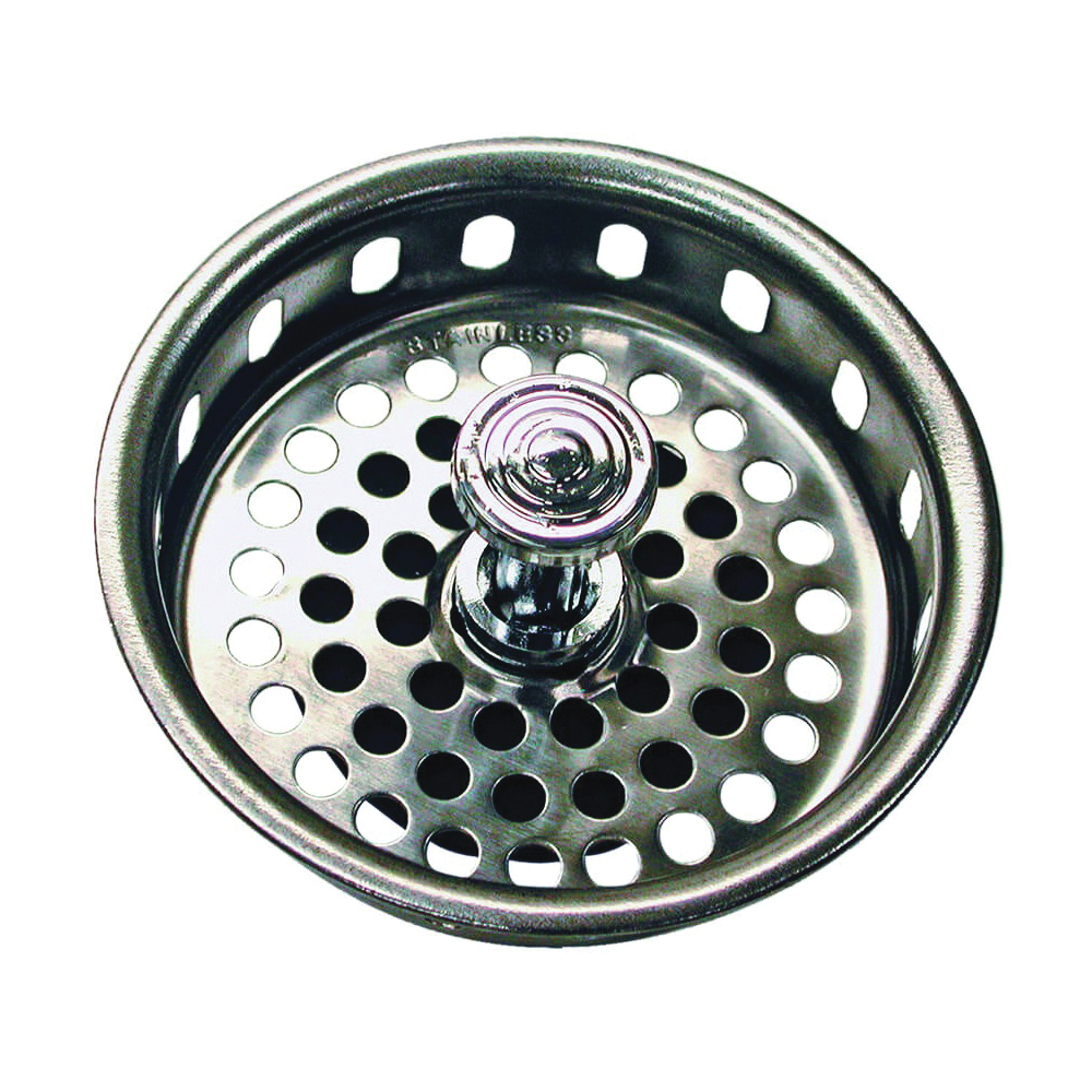Picture of Danco 51275 Basket Strainer, 3-1/4 in Dia, Brass, Chrome, For: 3-1/4 in Drain Opening Sink