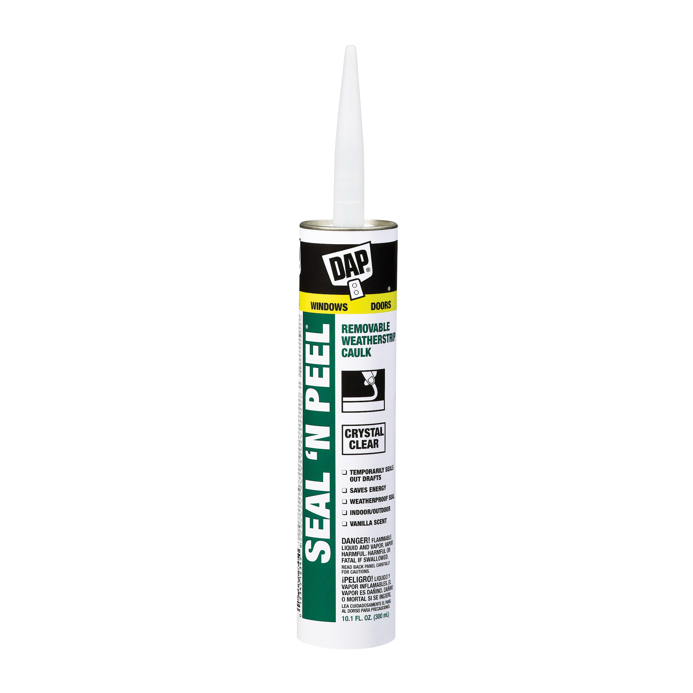 Picture of DAP Seal-N-Peel 18351 Weatherstrip Sealant, Clear, 40 to 100 deg F, 10.1 oz Package, Cartridge