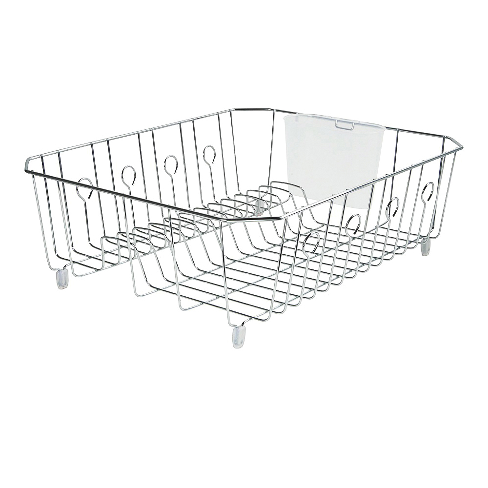 Picture of Rubbermaid 6032ARCHROM Wire Dish Drainer, 13 Dishes Capacity, 17.62 in L, 13.81 in W, 5.93 in H, Chrome