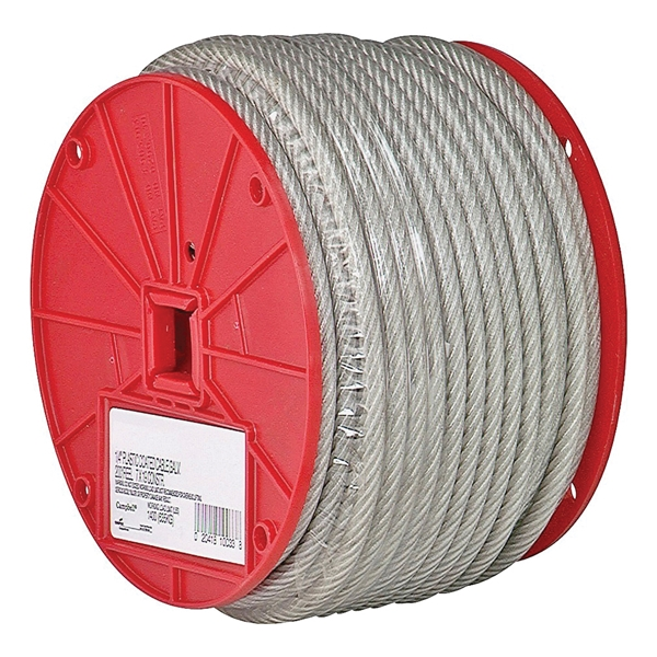 Picture of Campbell 7000897 Aircraft Cable, 1/4 in Dia, 200 ft L, 1400 lb Working Load, Steel