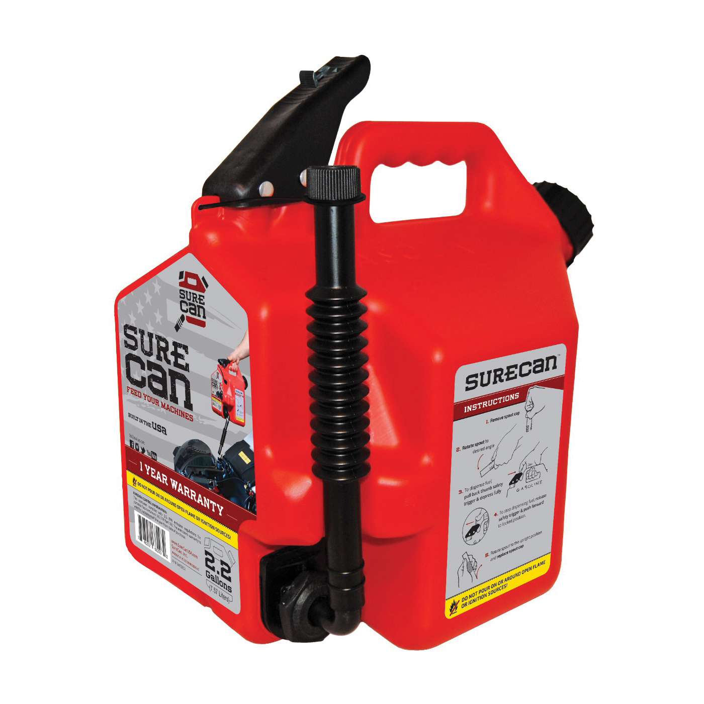 Picture of SUREcan SUR22G1 Gas Can, 2.2 gal Capacity, High-Density Polyethylene, Red