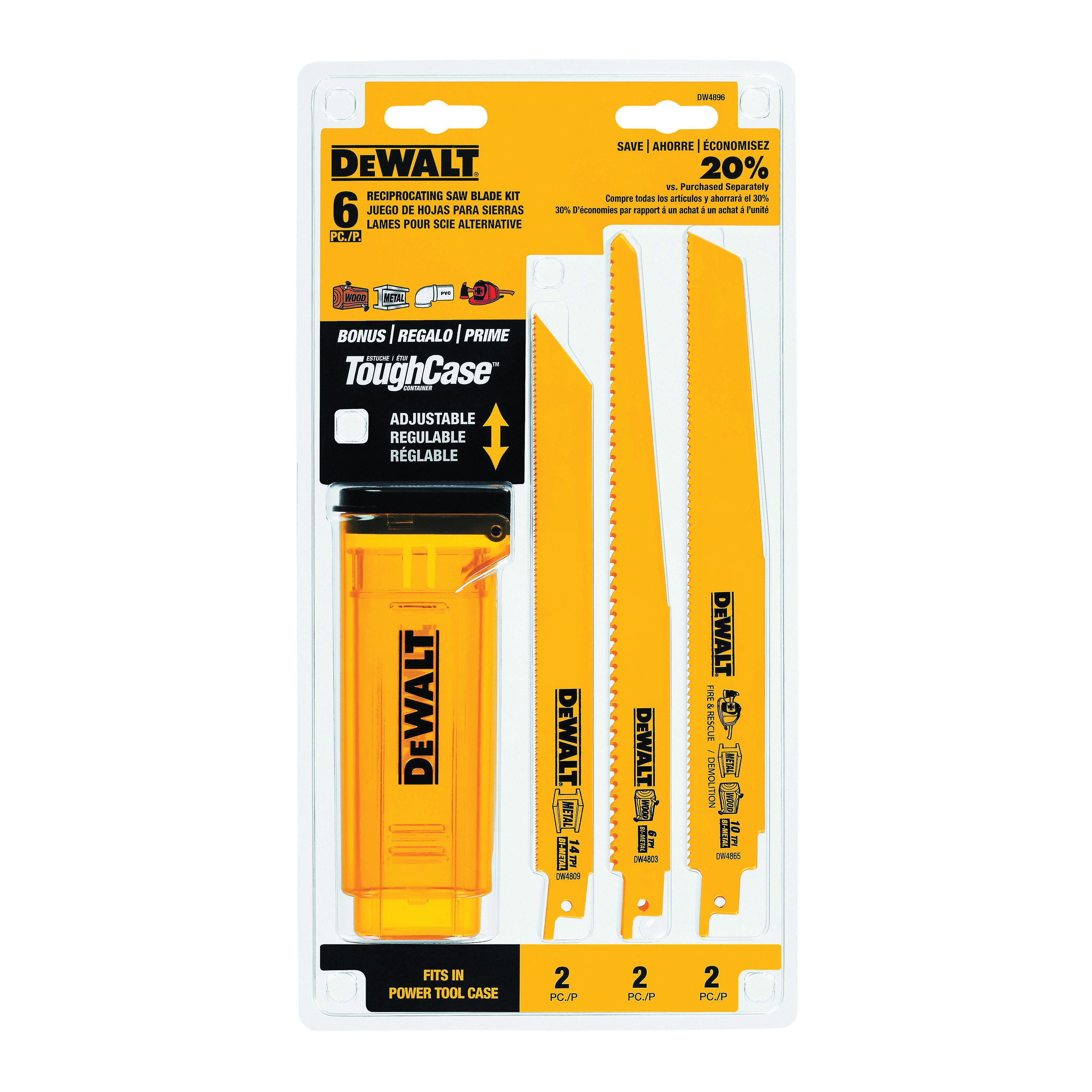 Picture of DeWALT DW4896 Reciprocating Saw Blade Set, 6 -Piece, Bi-Metal, Yellow, Anti-Stick Coated