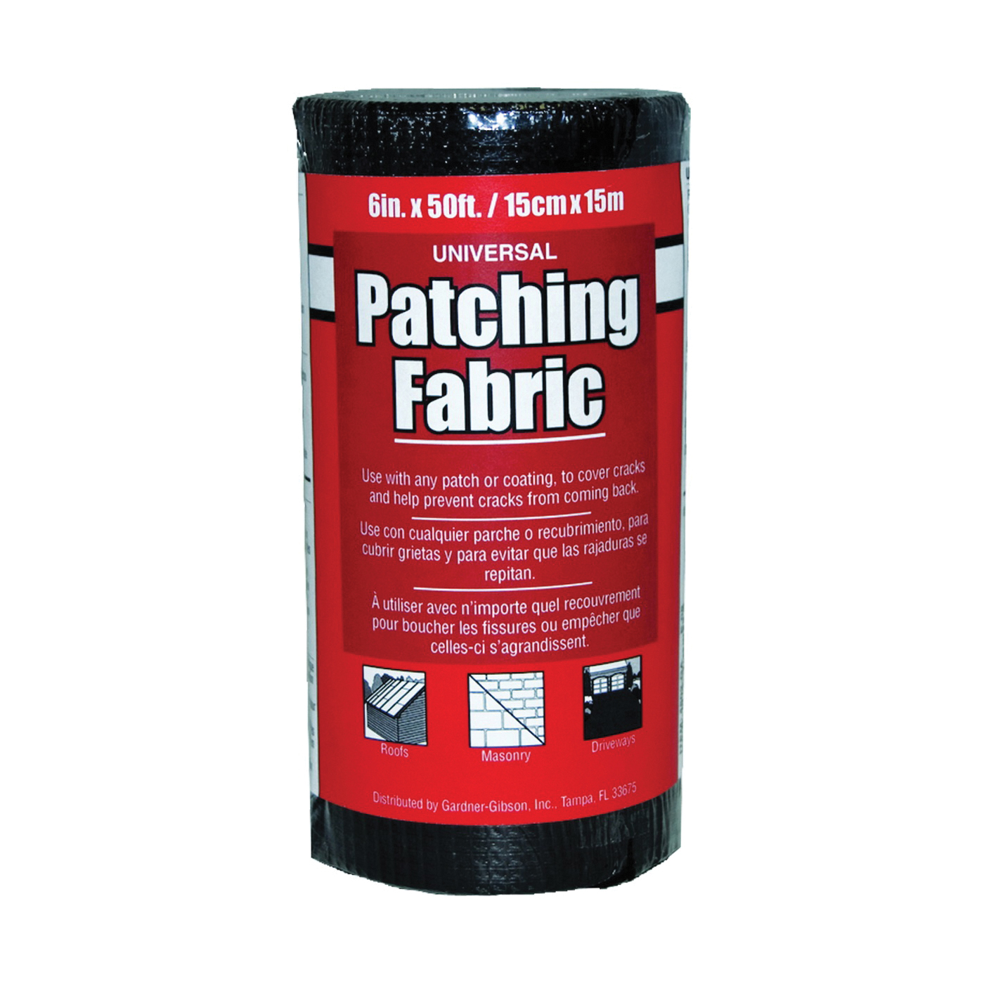 Picture of Gardner 4502-GA Patching Fabric, 50 ft L, 6 in W, Fiberglass, Black