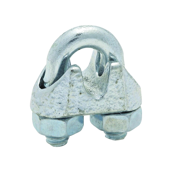 Picture of National Hardware 3230BC Series N248-286 Wire Cable Clamp, 3/16 in Dia Cable, 4 in L, Malleable Iron, Zinc