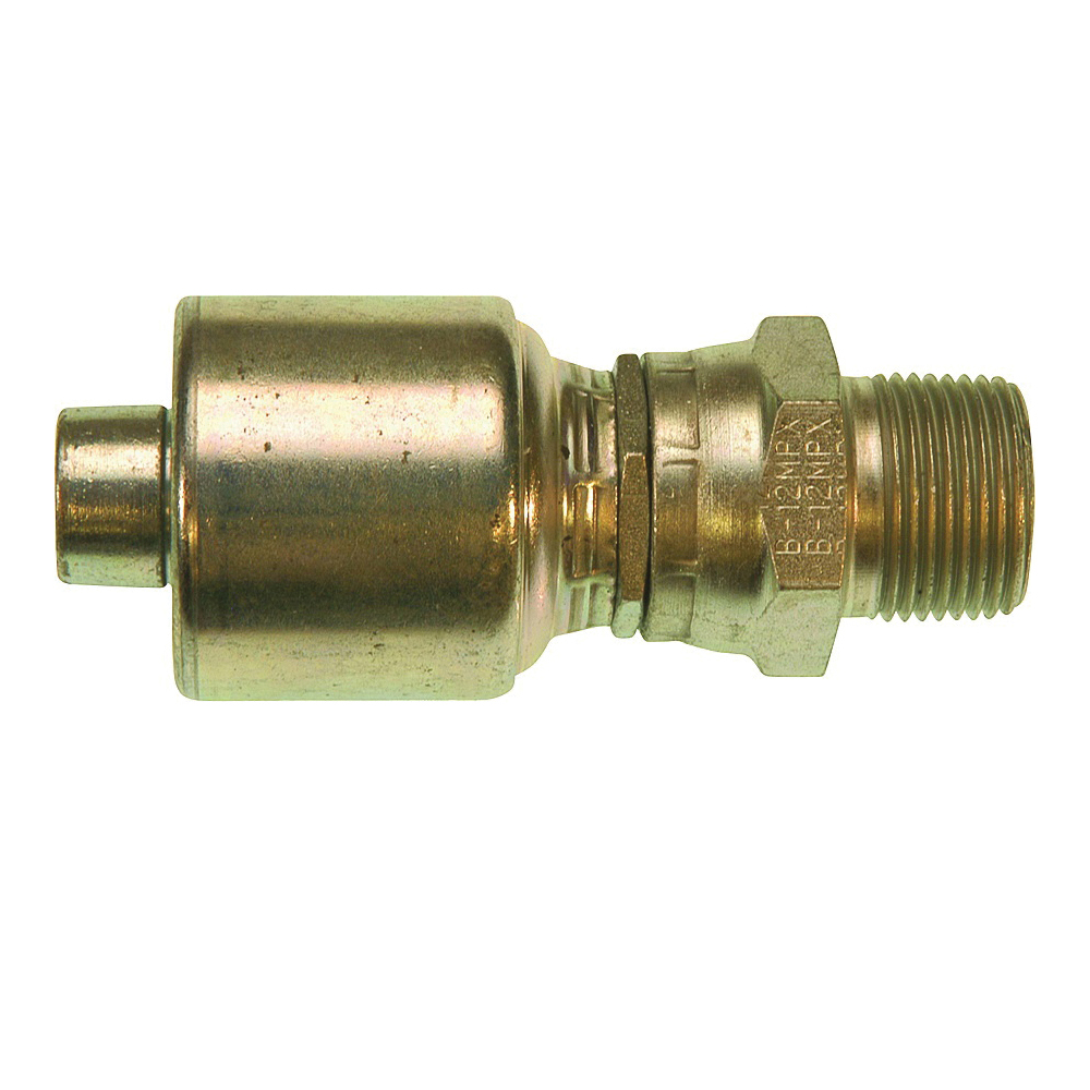 Picture of GATES MegaCrimp G25105-1616 Hose Coupling, 1-11-1/2, Crimp x NPTF, Straight Angle, Steel, Zinc