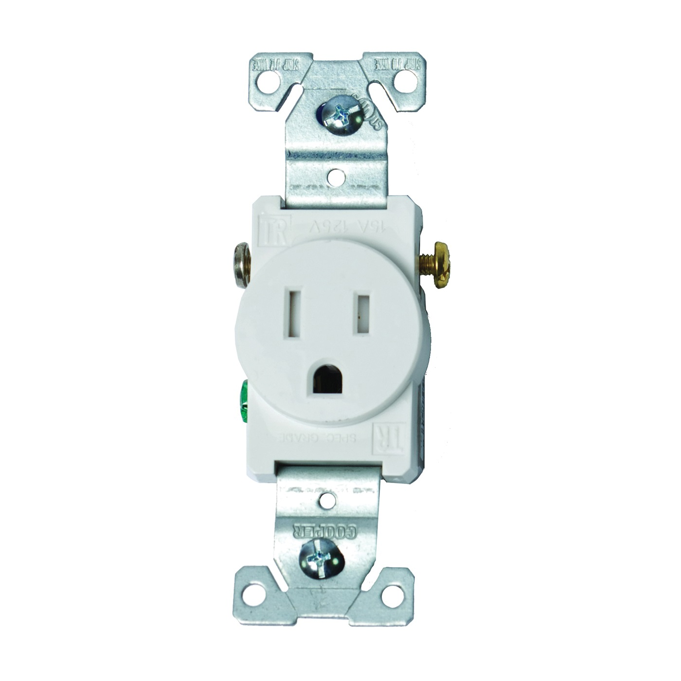 Picture of Eaton Wiring Devices TR817W-BOX Single Receptacle, 2-Pole, 125 V, 15 A, Side Wiring, NEMA 5-15R, White