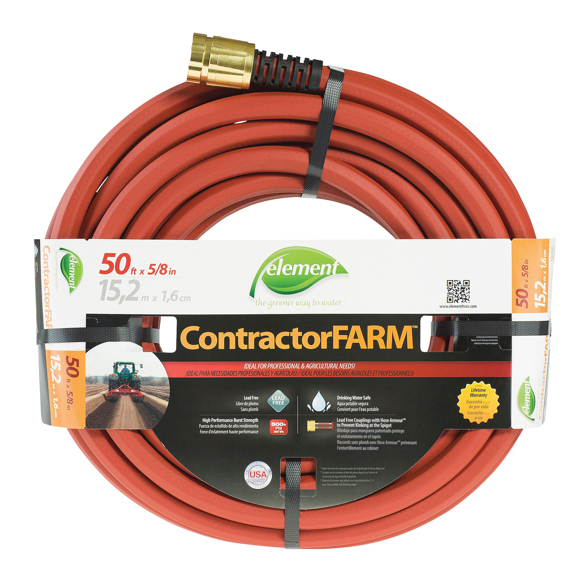 Picture of SWAN Element ContractorFARM ELCF58050 Water Hose, 50 ft L, Red