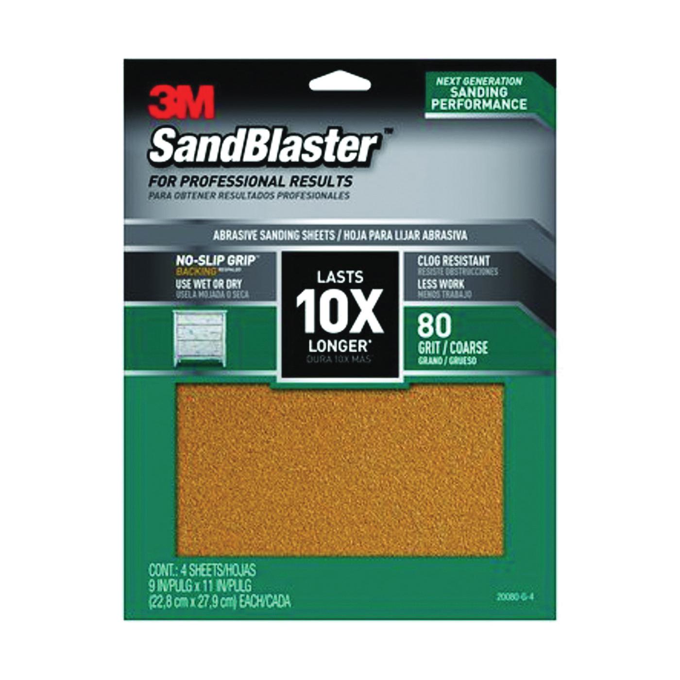 Picture of 3M SandBlaster 20080-G-4 Sandpaper, 11 in L, 9 in W, 80 Grit, Coarse, Aluminum Oxide Abrasive