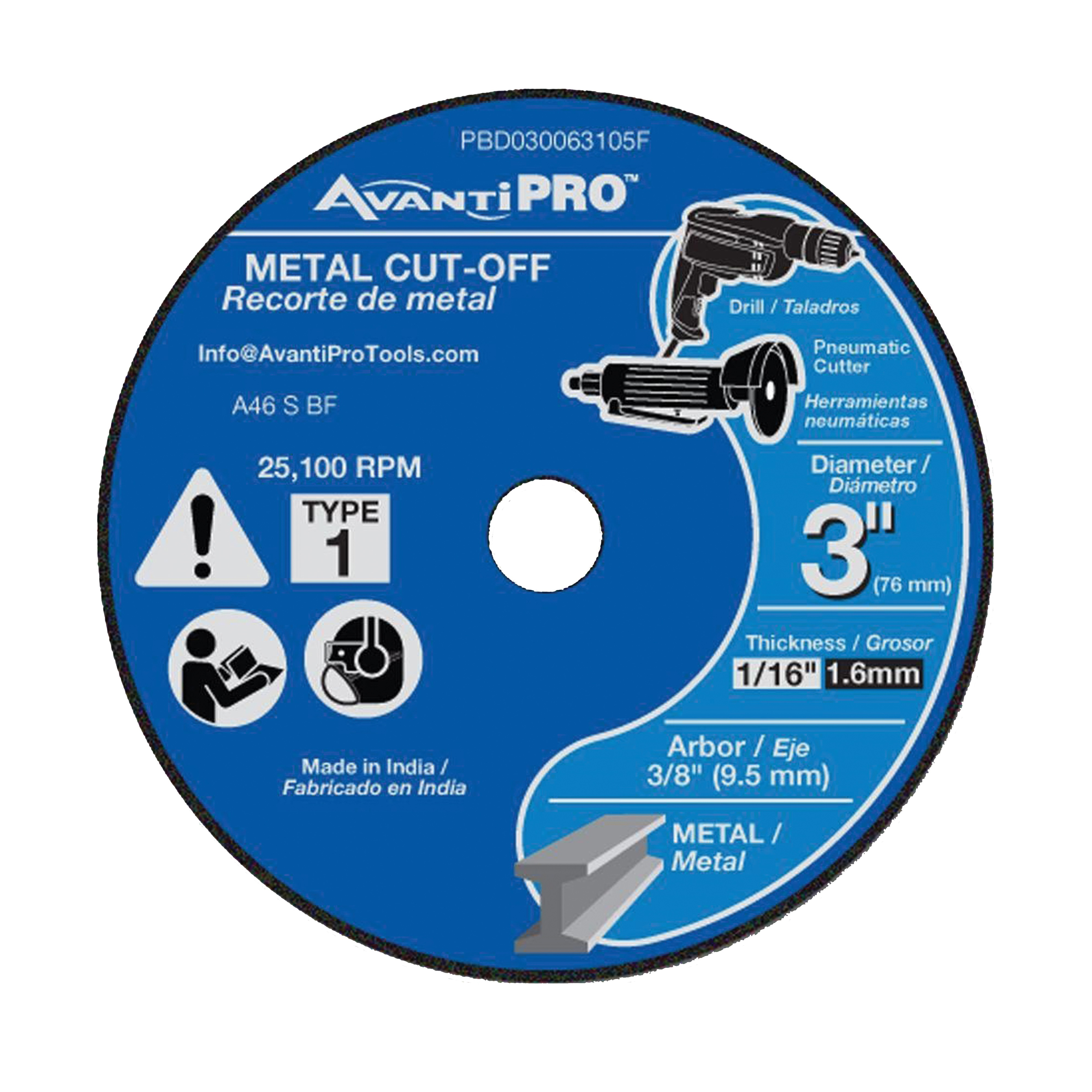 Picture of Avanti Pro PBD030063105F Cut-Off Wheel, 3 in Dia, 1/16 in Thick, 3/8 in Arbor, Aluminum Oxide Abrasive