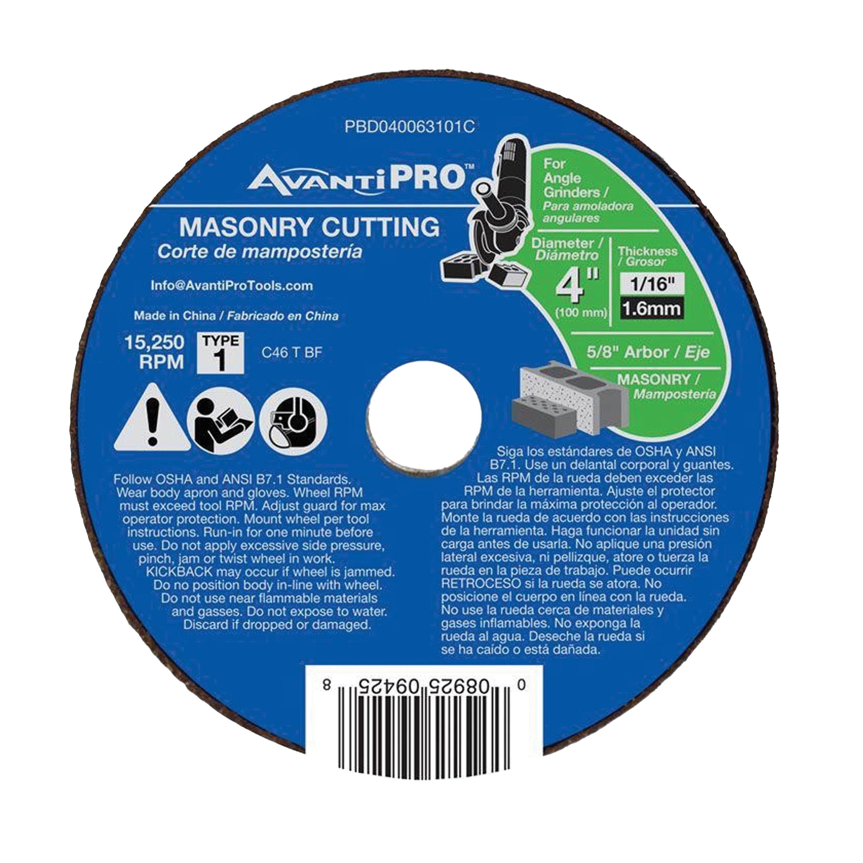 Picture of Avanti Pro PBD040063101C Cut-Off Wheel, 4 in Dia, 1/16 in Thick, 5/8 in Arbor, Silicone Carbide Abrasive
