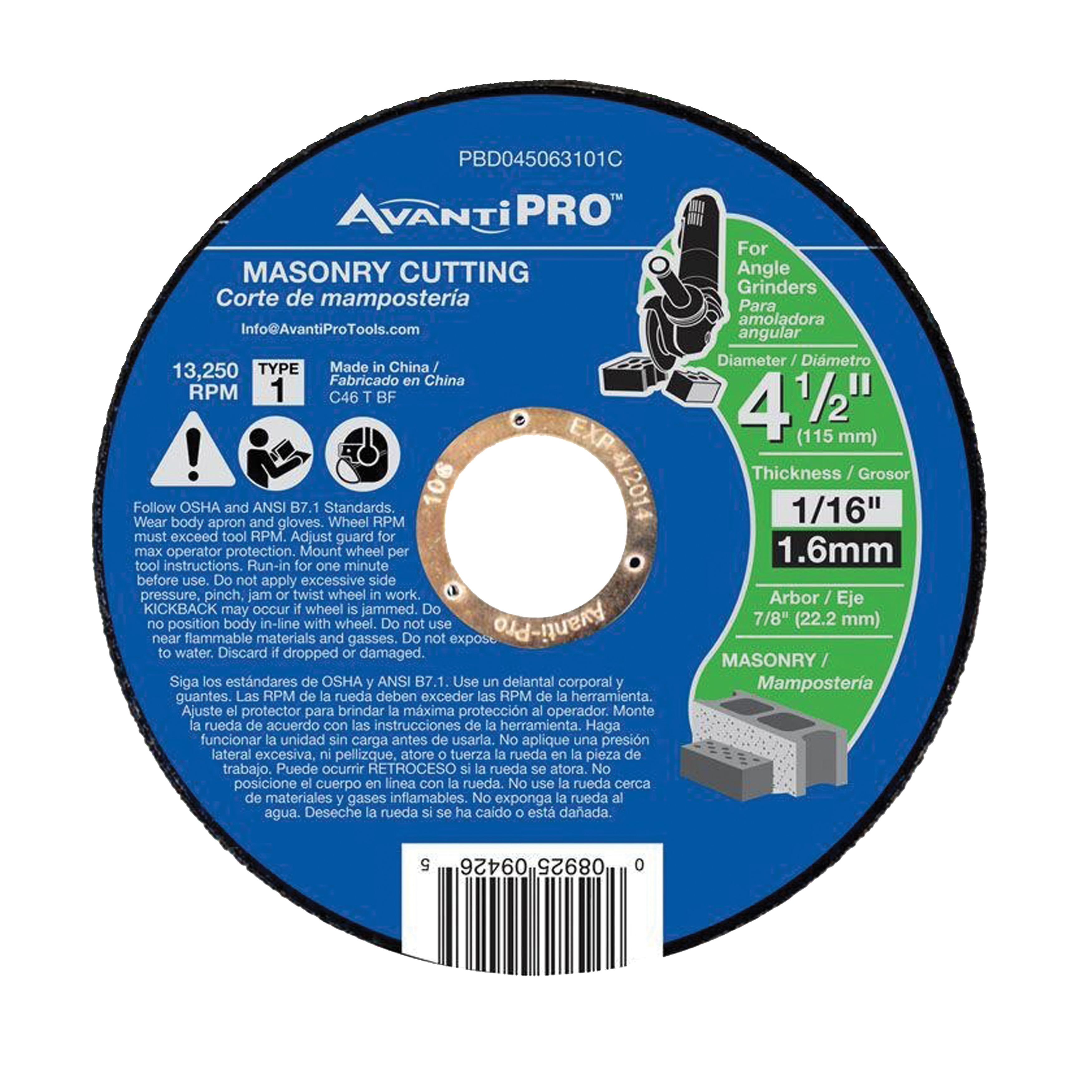 Picture of Avanti Pro PBD045063101C Cut-Off Wheel, 4-1/2 in Dia, 1/16 in Thick, 7/8 in Arbor