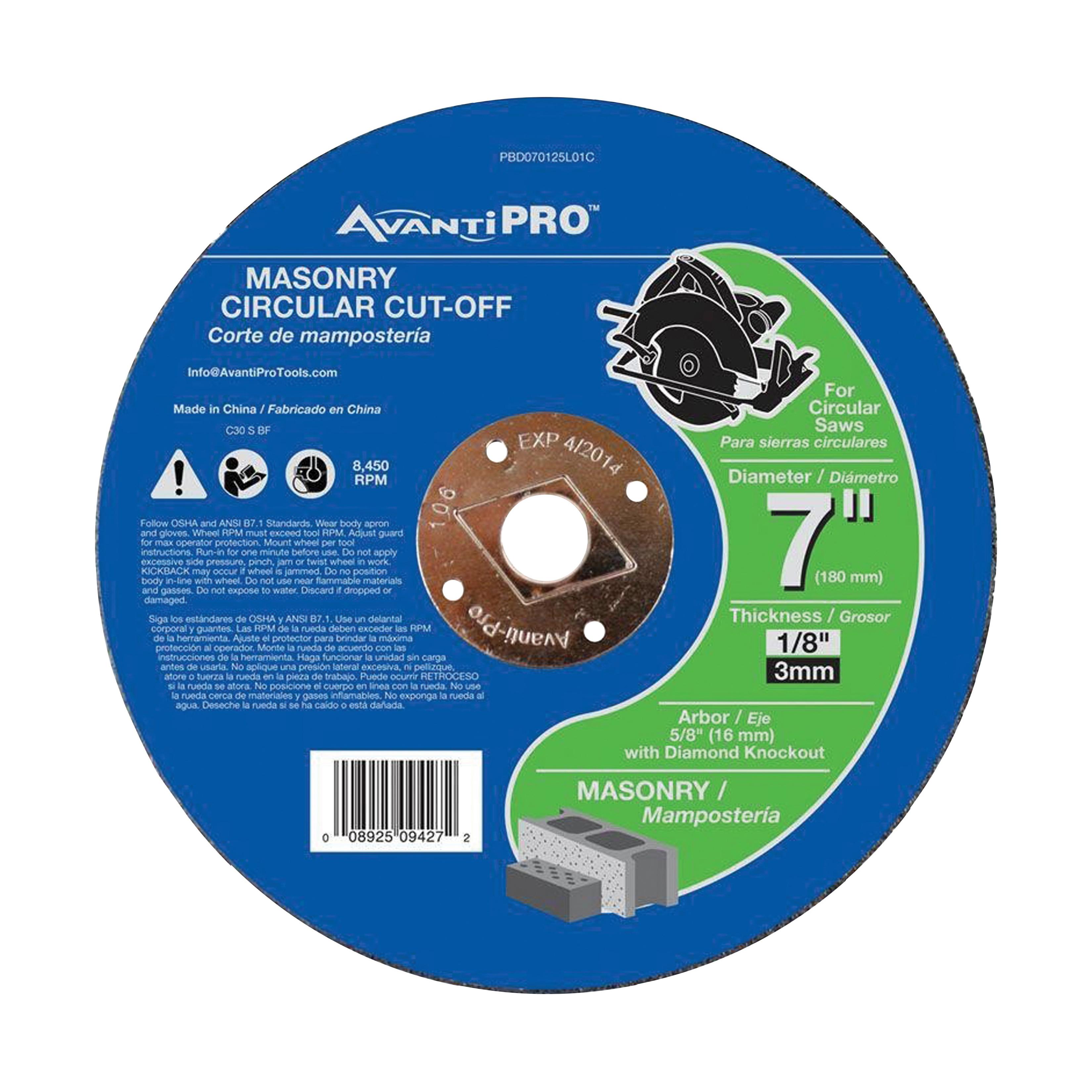 Picture of Avanti Pro PBD070125L01C Cut-Off Wheel, 7 in Dia, 1/8 in Thick, 5/8 in Arbor, Silicone Carbide Abrasive