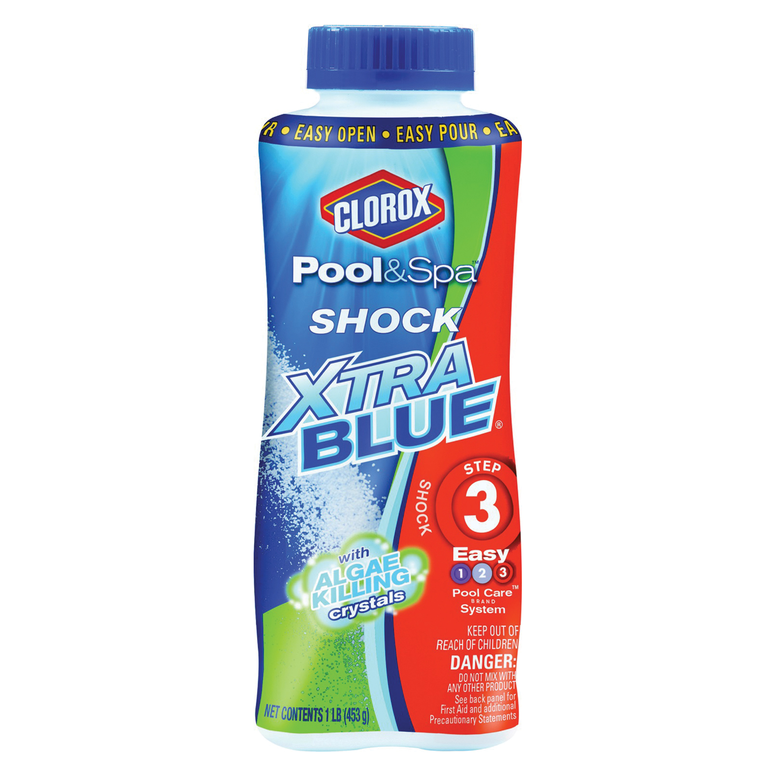 Picture of Clorox Pool & Spa Shock Xtra Blue 33030CLX Pool Chemical, 1 lb, Bottle, Granular, Chlorine