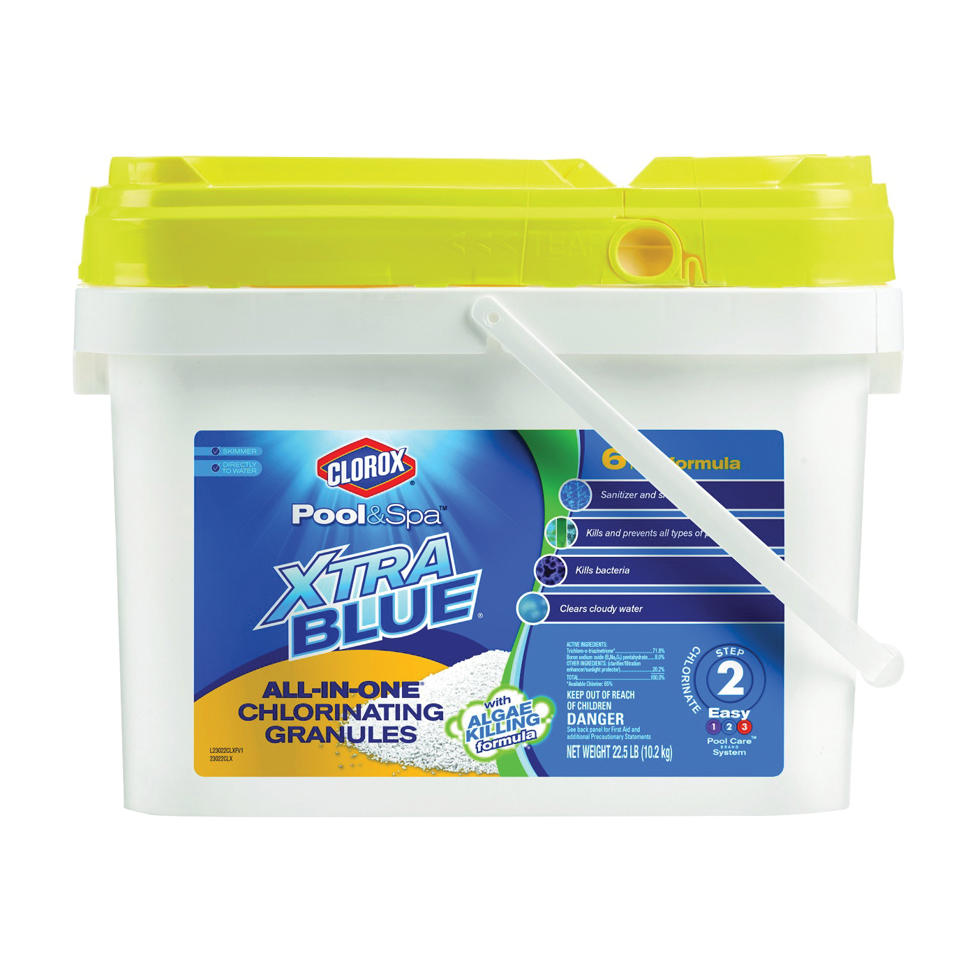 Picture of Clorox Pool & Spa XtraBlue 23022CLX Chlorinating Granules, Solid, Chlorine, 22.5 lb Package