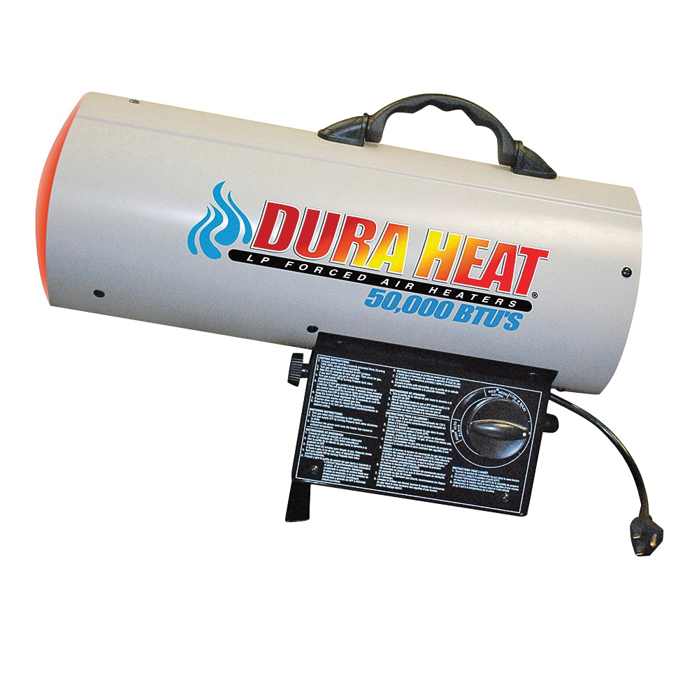Picture of Dura Heat GFA60A Forced Air Heater, 20 lb Fuel Tank, Liquid Propane, 30000/40000/60000 Btu, 99 % Efficiency