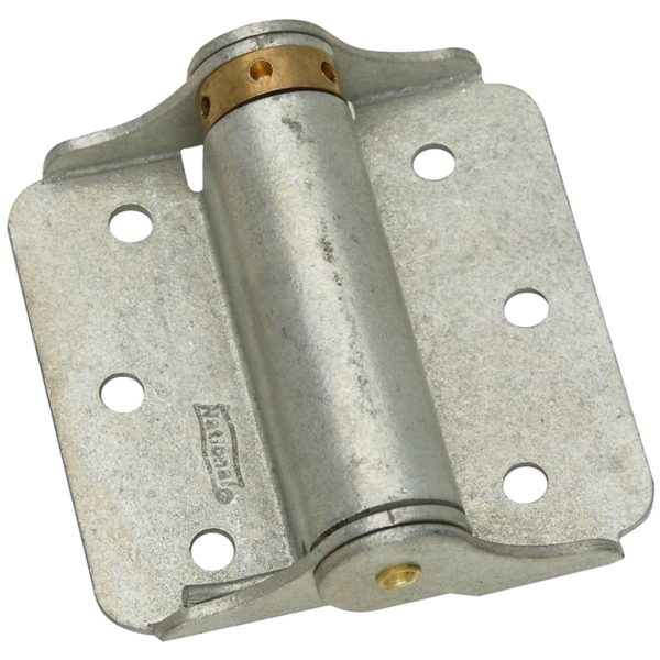 Picture of National Hardware N115-105 Spring Hinge, 0.08 in Thick Frame Leaf, Galvanized Steel, 25 lb
