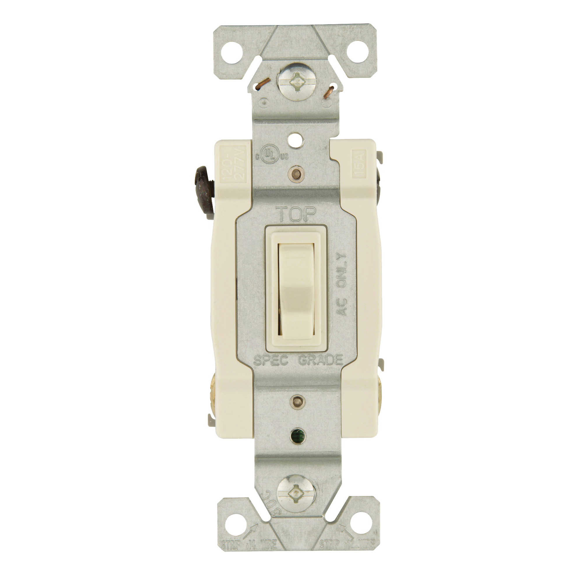Picture of Eaton Wiring Devices 1242-7LA-BOX Switch, 15 A, 120 V, 4-Way, Lead Wire Terminal, Thermoplastic Housing Material