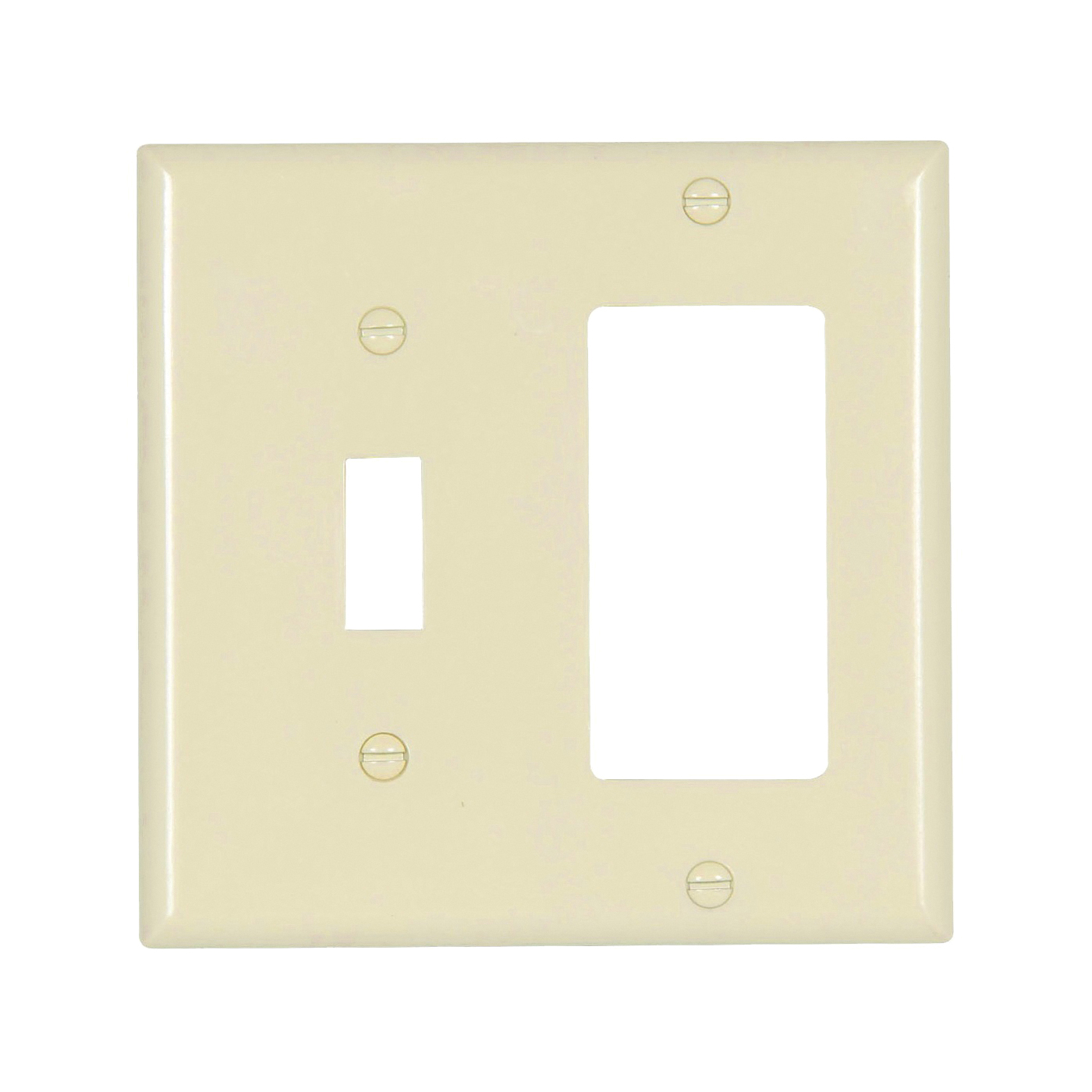 Picture of Eaton Wiring Devices 2153LA-BOX Wallplate, 4-1/2 in L, 4-9/16 in W, 2-Gang, Thermoset, Light Almond, High-Gloss