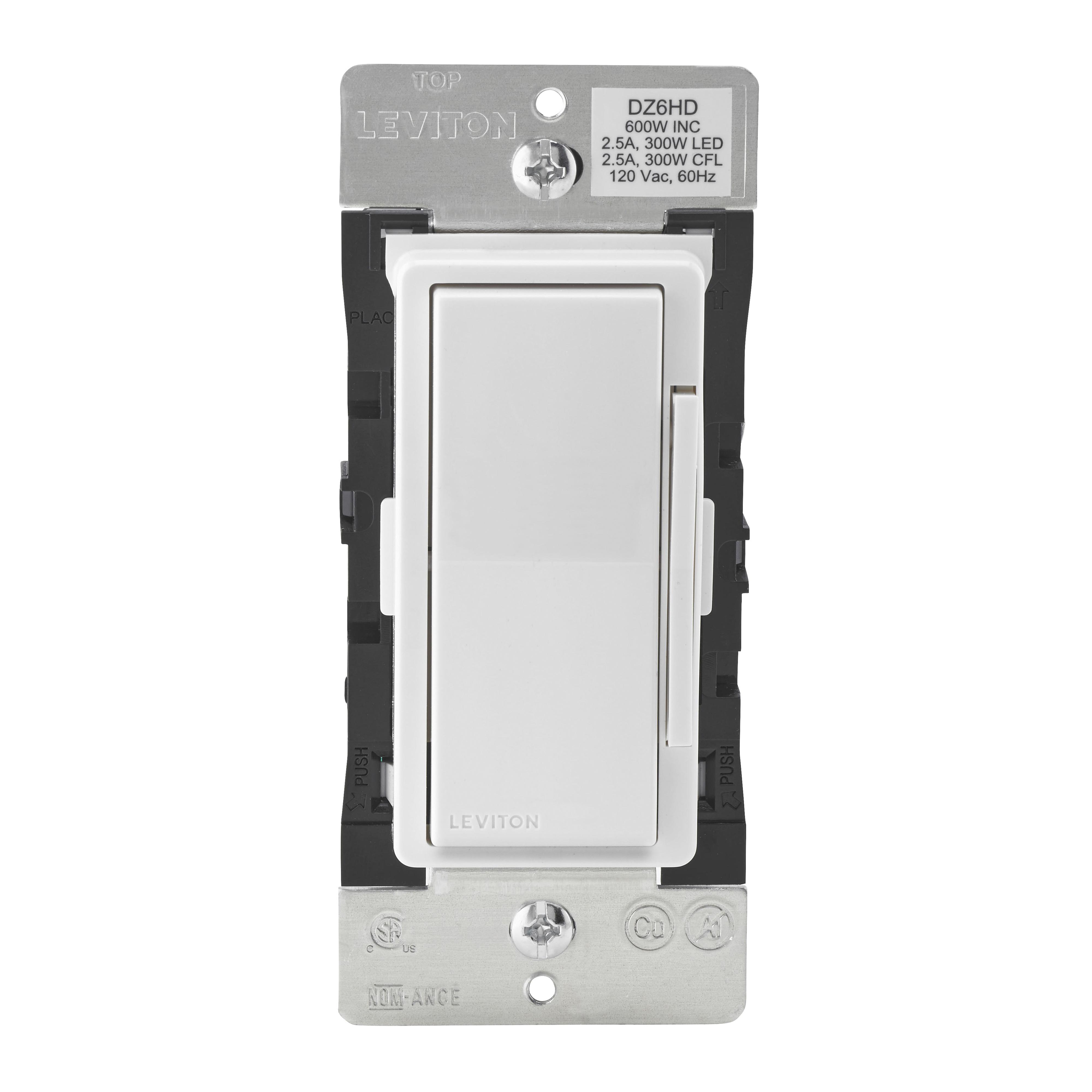 Picture of Leviton Decora Smart R51-DZ6HD-1RZ Dimmer, 1-Pole, 3-Way, 120 V, 60 Hz, Z-Wave, Hardwired, Light Almond/White