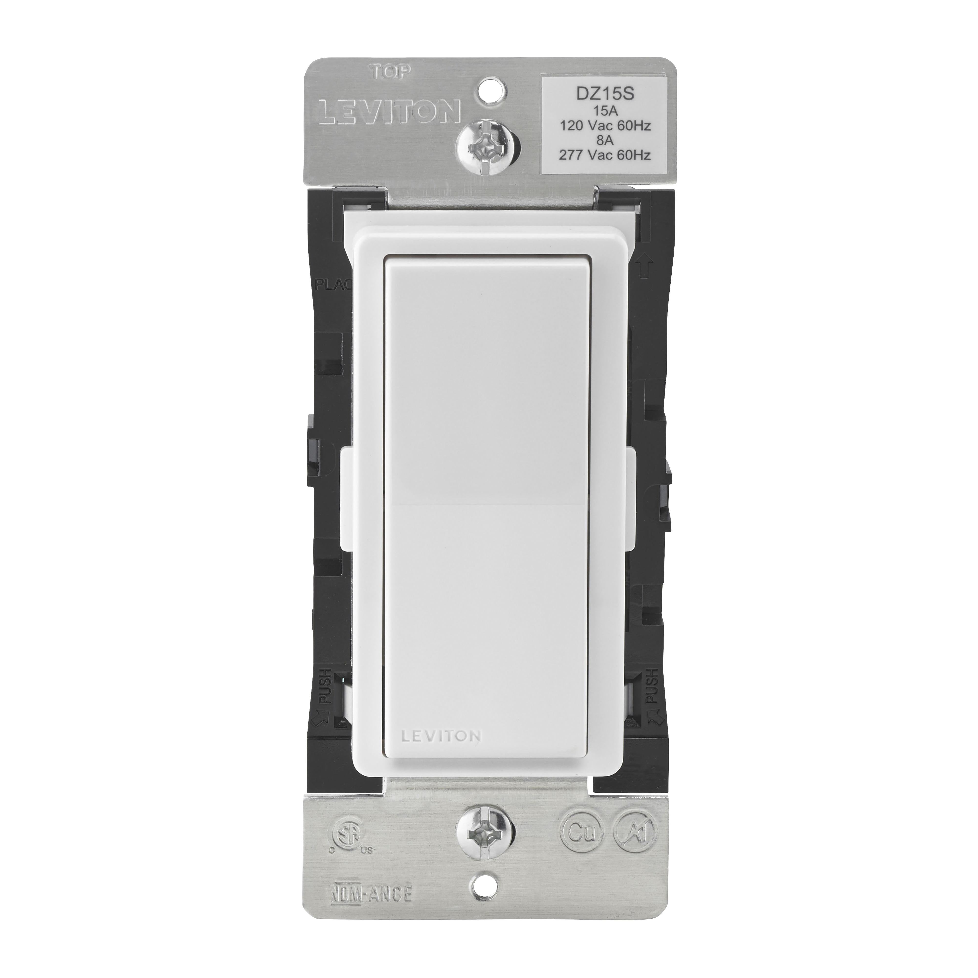 Picture of Leviton Decora Smart R51-DZ15S-1RZ Switch, 1-Pole, 3-Way, 120 V, 60 Hz, Z-Wave, Hardwired, Light Almond/White