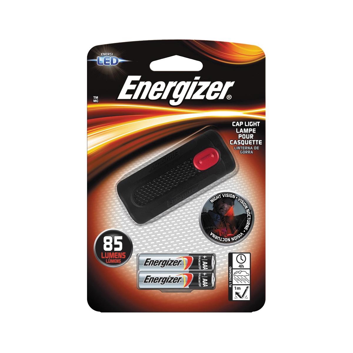 Picture of Energizer ENCAP22E Cap Light, AAA Battery, Alkaline Battery, LED Lamp, 85 Lumens, 4 hr Run Time