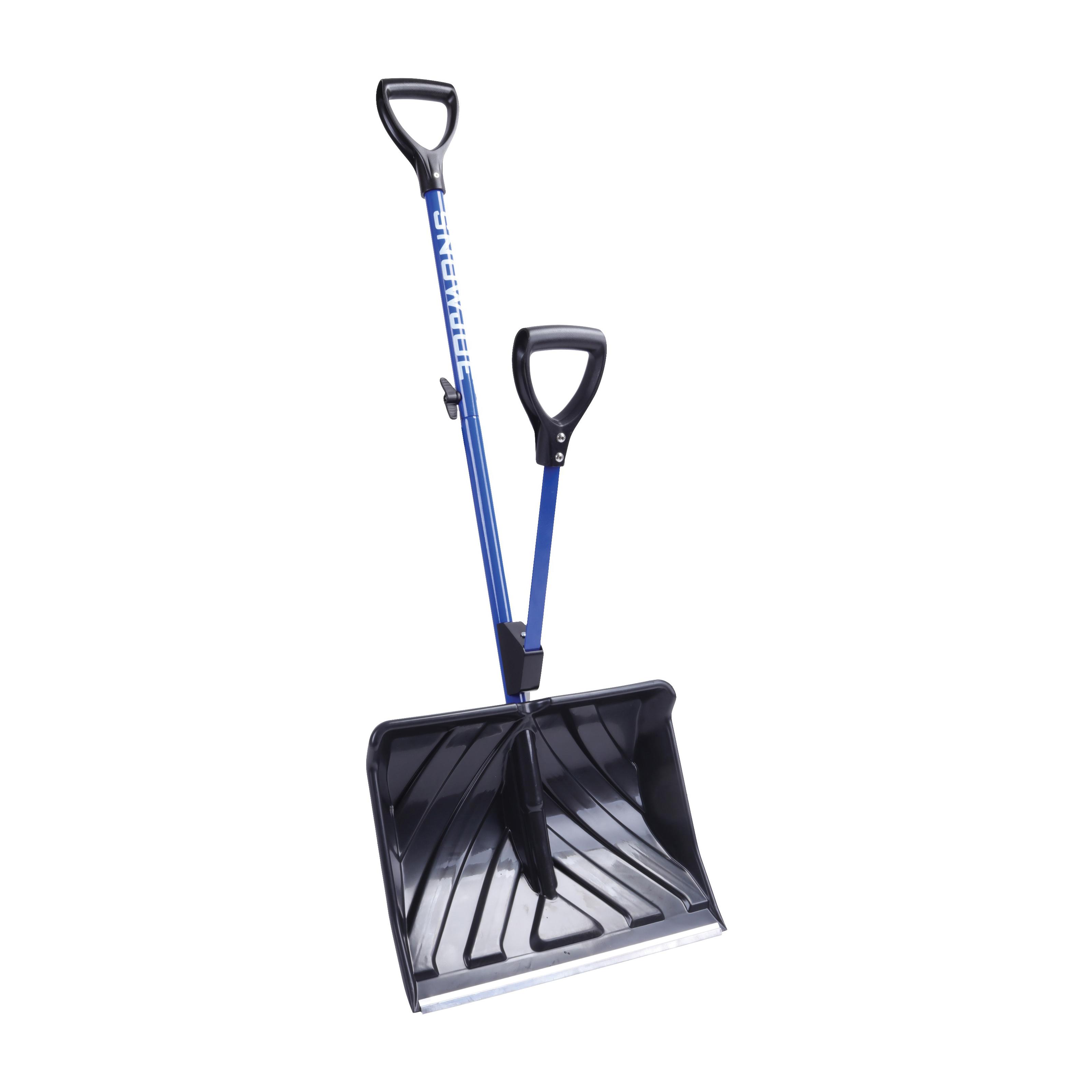 Picture of Snow Joe SJ-SHLV01 Strain-Reducing Snow Shovel, 18 in W Blade, 18 in L Blade, Polycarbonate Blade, 50 in OAL, Blue