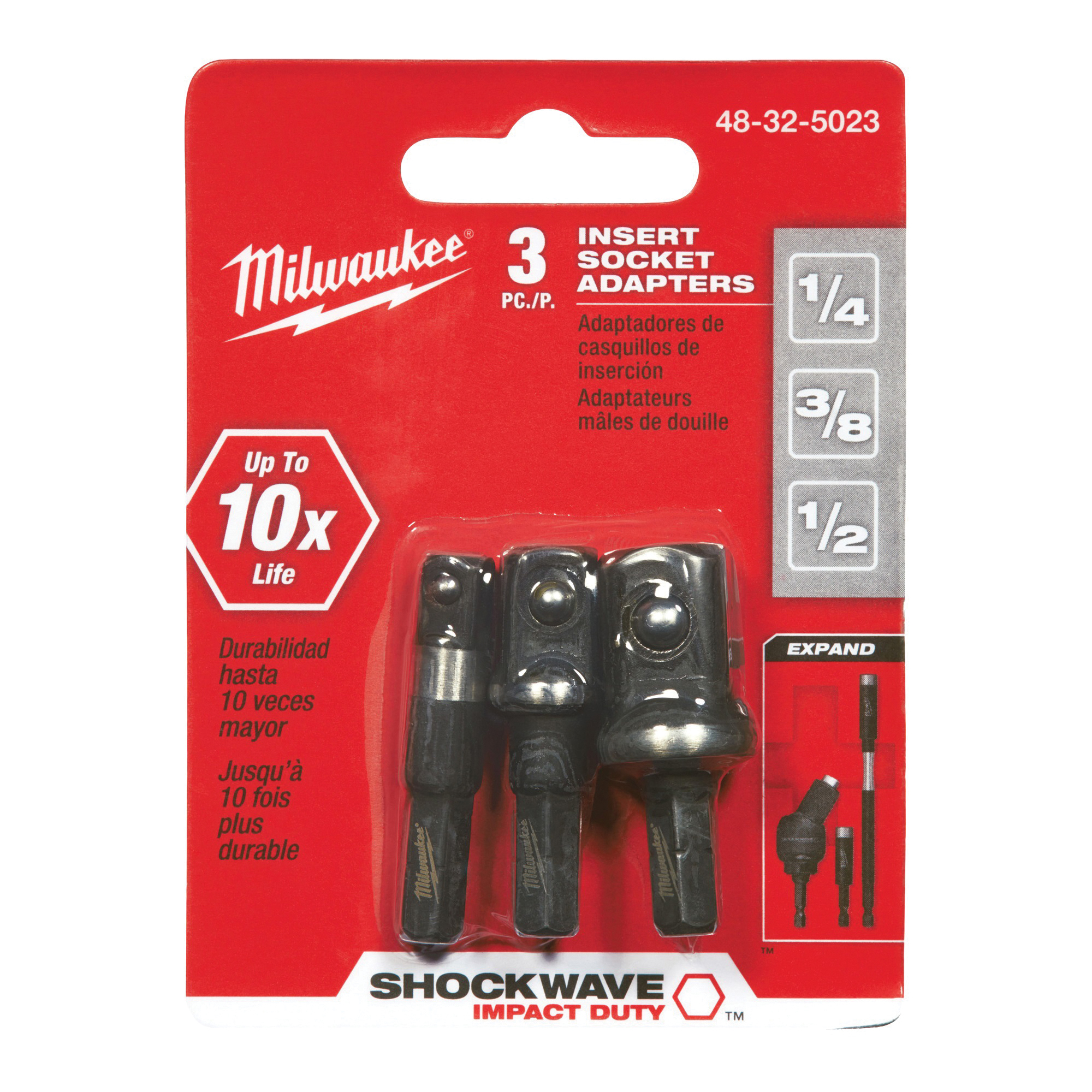 Picture of Milwaukee 48-32-5023 Socket Adapter Set, 1/4, 3/8, 1/2 in Drive, Steel