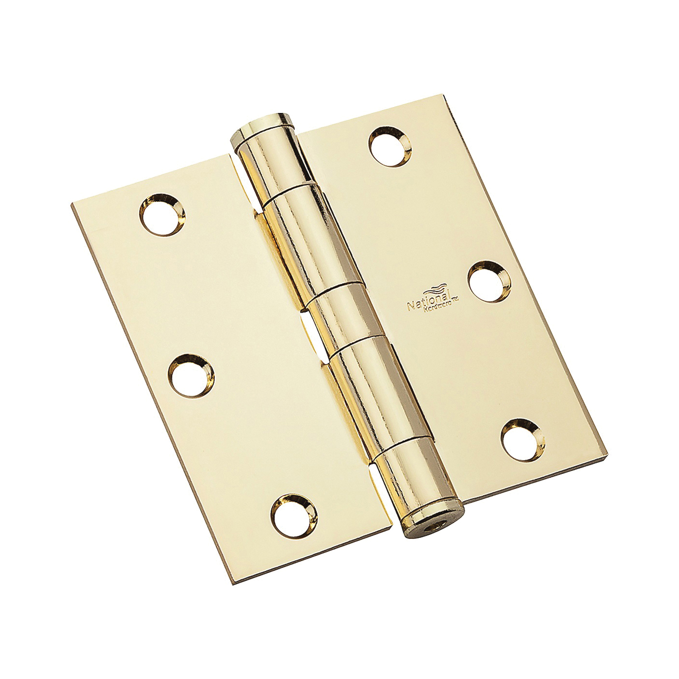 Picture of National Hardware 179 Series N236-108 Standard Weight Template Hinge, 3-1/2 in H Frame Leaf, Steel, Bright Brass