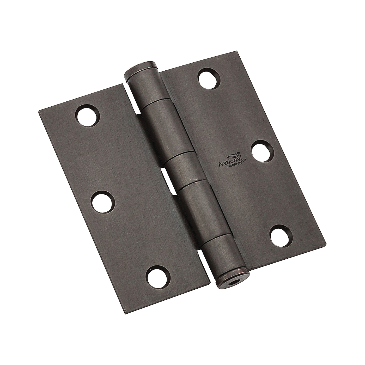 Picture of National Hardware 179 Series N236-112 Standard Weight Template Hinge, 3-1/2 in H Frame Leaf, Steel, Oil-Rubbed Bronze