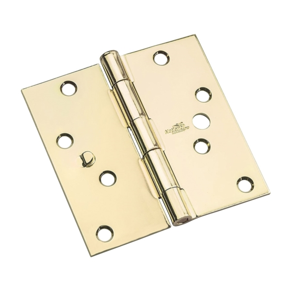 Picture of National Hardware 512 Series N830-401 Door Hinge, 4 in H Frame Leaf, Steel, Bright Brass, Flush, Removable Pin