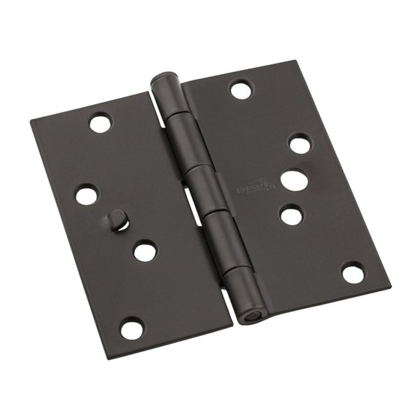 Picture of National Hardware 512 Series N830-402 Door Hinge, 4 in H Frame Leaf, Steel, Oil-Rubbed Bronze, Flush, Removable Pin