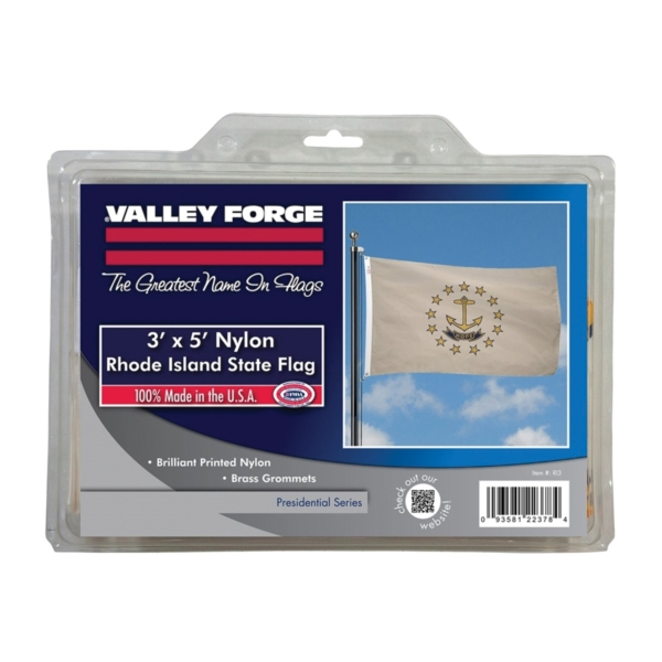 Picture of Valley Forge RI3 Rhode Island Flag with Brass Grommet, 5 ft L, 3 ft W, HOPE, Nylon