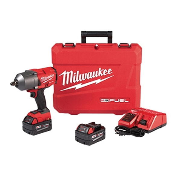 Picture of Milwaukee 2767-22 Impact Wrench, Kit, 18 V Battery, 5 Ah, 1/2 in Drive, 1400 ft-lb, 1750 rpm Speed, 2100 IPM