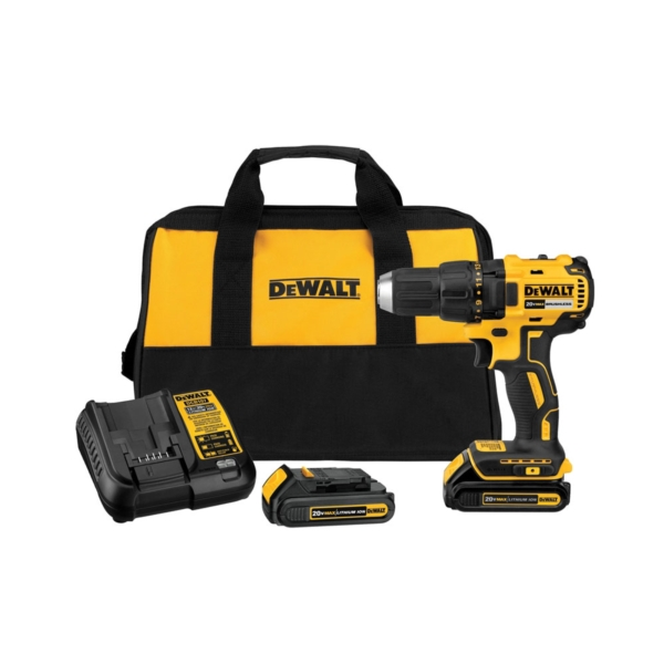 Picture of DeWALT DCD777C2 Drill/Driver Kit, Kit, 20 V Battery, 1/2 in Chuck, Ratcheting Chuck, Battery Included: Yes