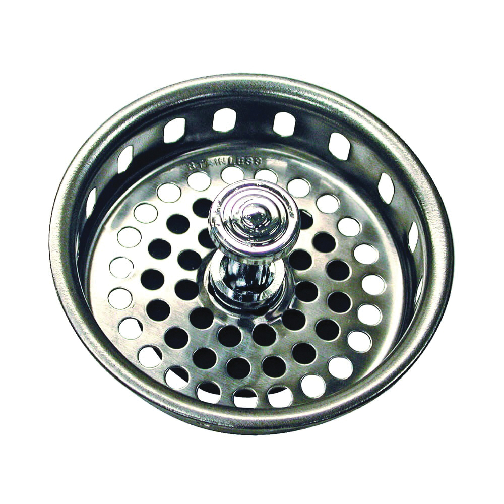 Picture of Danco 80900 Basket Strainer with Drop Center Post, 3-3/4 in Dia, Stainless Steel, Chrome, For: 3-3/4 in Opening Sink