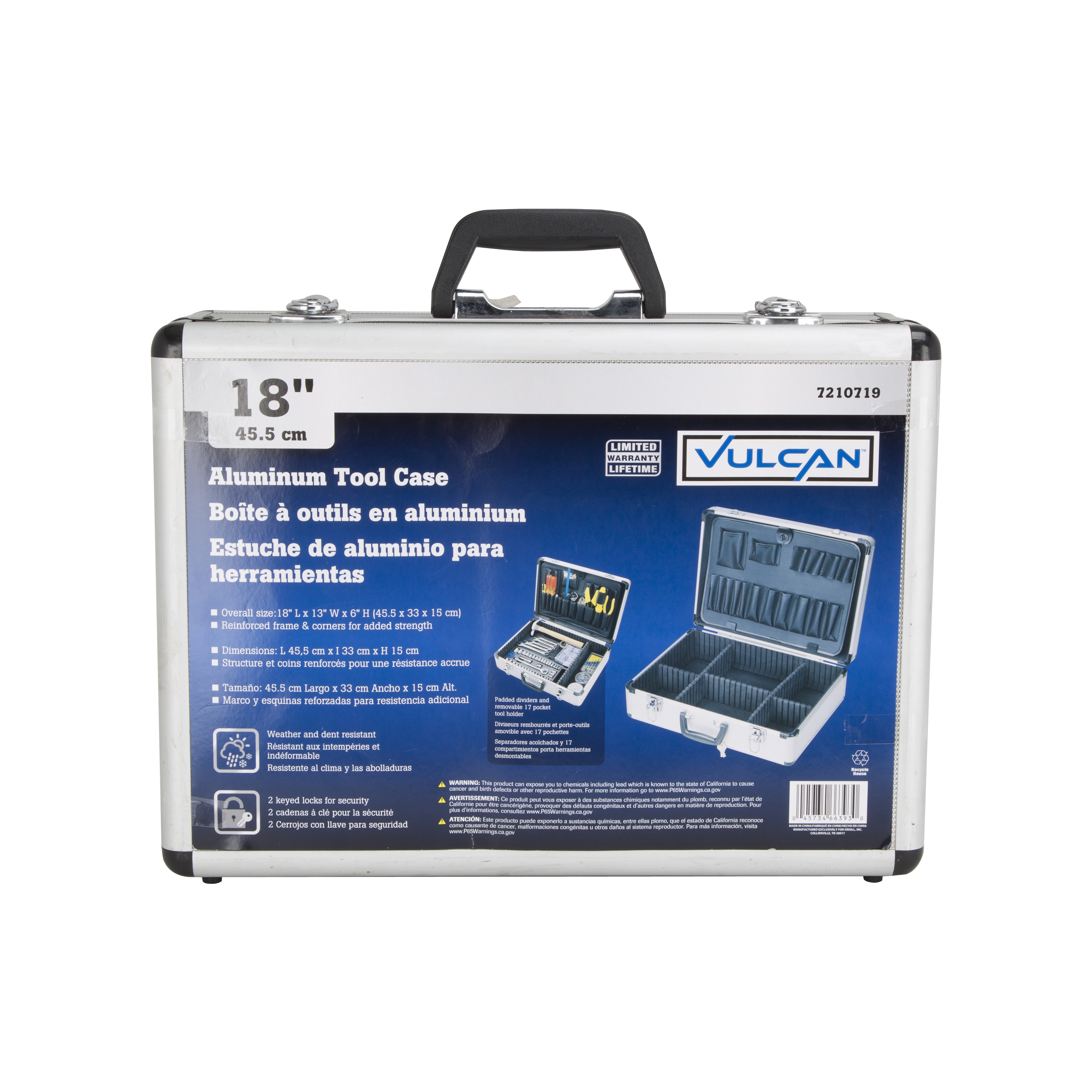 Picture of Vulcan JL-10054 Storage Case, 17 L x 12-1/4 W x 5 H in, Aluminum, Silver, 18 in OAL x 13 in OAW x 6 in OAH Outside